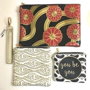 """Handbags - NWT Gold Black Red Wristlet Pouches """"You Be You"""""""